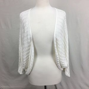 White House Black Market White Knit Open Shrug